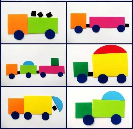 亲子手工(67)汽车游乐场拼贴手工,几何图形可以这么玩图片