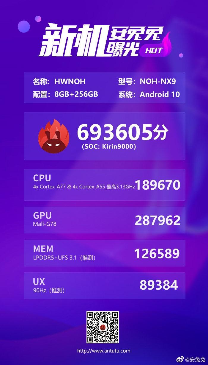麒麟9000跑分曝光,性能强劲!!,华为Mate40系列-花粉俱乐部