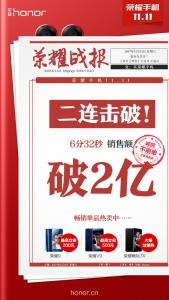 6分32秒!!!天猫荣耀官方旗舰店销售额破2亿!,花粉漫谈-花粉俱乐部