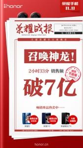 2小时33分!!!天猫荣耀官方旗舰店销售额破7亿!,花粉漫谈-花粉俱乐部