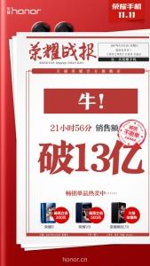 21小时56分!!!天猫荣耀官方旗舰店销售额破13亿!,花粉漫谈-花粉俱乐部