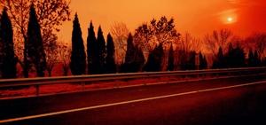 在高速公路的汽车里随拍沂山落日晚霞,花粉随手拍-花粉俱乐部