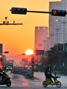 夕阳映像城市,随手拍-花粉俱乐部